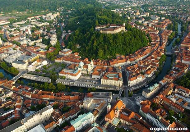 ljubljana old town from the air